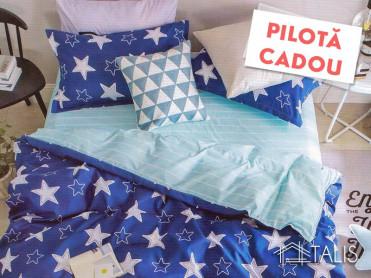 Lenjerie + Pilota Starry Albastru (Bumbac Satinat)