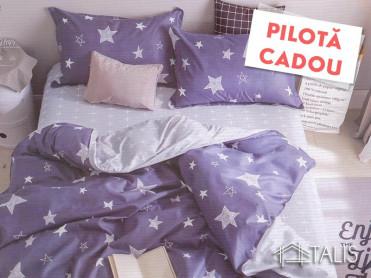 Lenjerie + Pilota Starry Mov (Bumbac Satinat)