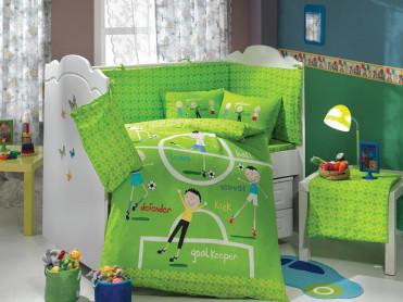Set Complet Lenjerie Patut Bebe Soccer Verde (Satin Deluxe)