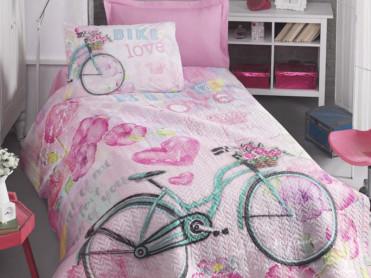 Set Lenjerie si Cuvertura Copii Bike Roz (Bumbac 100%)