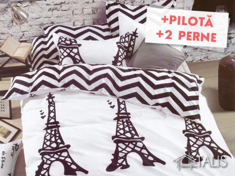 Pachet Lenjerie + Pilota + Perne Parisianne (Bumbac Satinat)