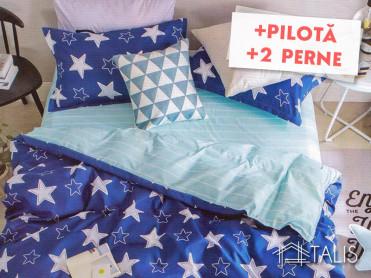 Pachet Lenjerie + Pilota + Perne Starry Albastru (Bumbac Satinat)