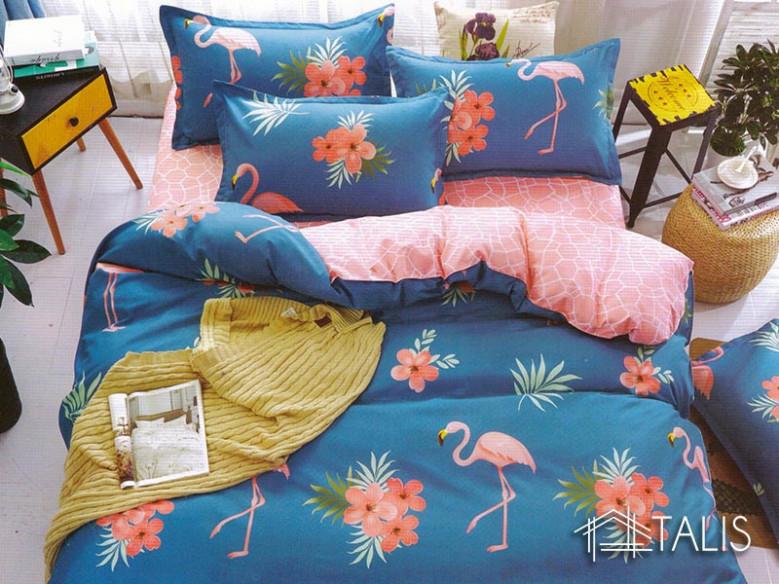 Lenjerie Flamingo Albastru (Bumbac Satinat)