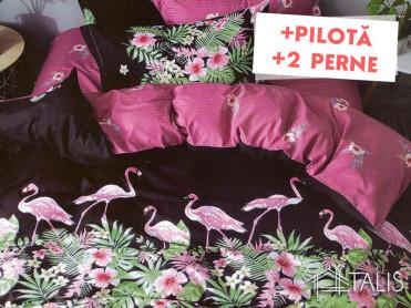 Pachet Lenjerie + Pilota + Perne Flamingo Negru (Bumbac Satinat)