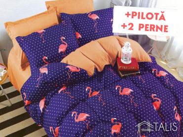Pachet Lenjerie + Pilota + Perne Flamingo Orange (Bumbac Satinat)