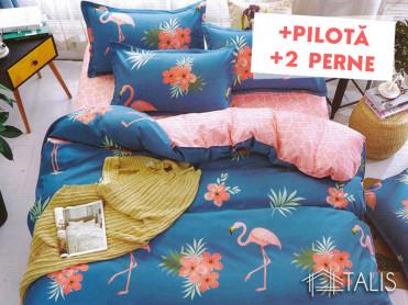 Pachet Lenjerie + Pilota + Perne Flamingo Albastru (Bumbac Satinat)