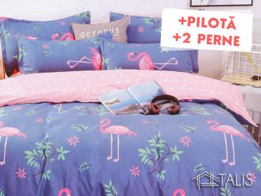 Pachet Lenjerie + Pilota + Perne Flamingo Cobalt (Bumbac Satinat)