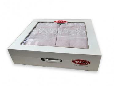 Set 4 Prosoape Hobby Jacquard Roz V5 50x90 si 70x140 (Bumbac 100%)