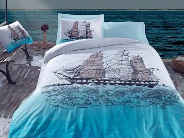 Lenjerie 1 Persoana Ship Albastra (Bumbac 100%)