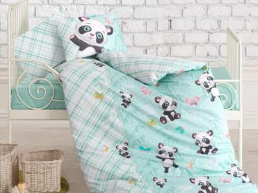 Lenjerie Patut Bebe Panda Mint (Bumbac 100%)