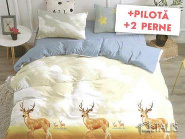 Pachet Lenjerie + Pilota + Perne Deer (Bumbac Satinat)