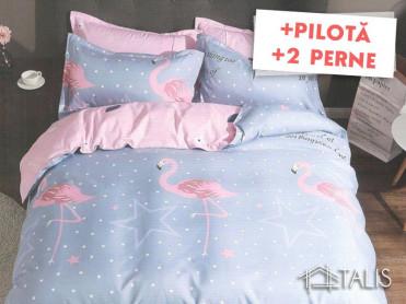 Pachet Lenjerie + Pilota + Perne Flamingo Star (Bumbac Satinat)