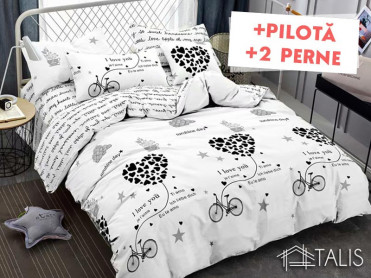 Pachet Lenjerie + Pilota + Perne Bycicle Heart (Bumbac Satinat)