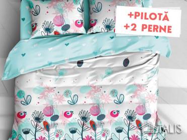Pachet Lenjerie + Pilota + Perne Color Joy (Bumbac Satinat)