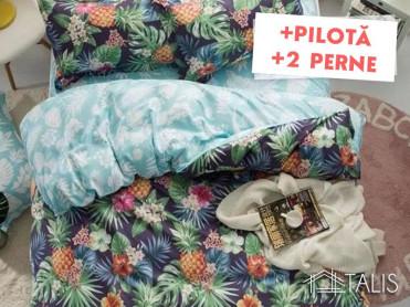 Pachet Lenjerie + Pilota + Perne Pineapple (Bumbac Satinat)