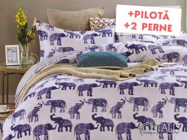 Pachet Lenjerie + Pilota + Perne Elephant (Bumbac Satinat)