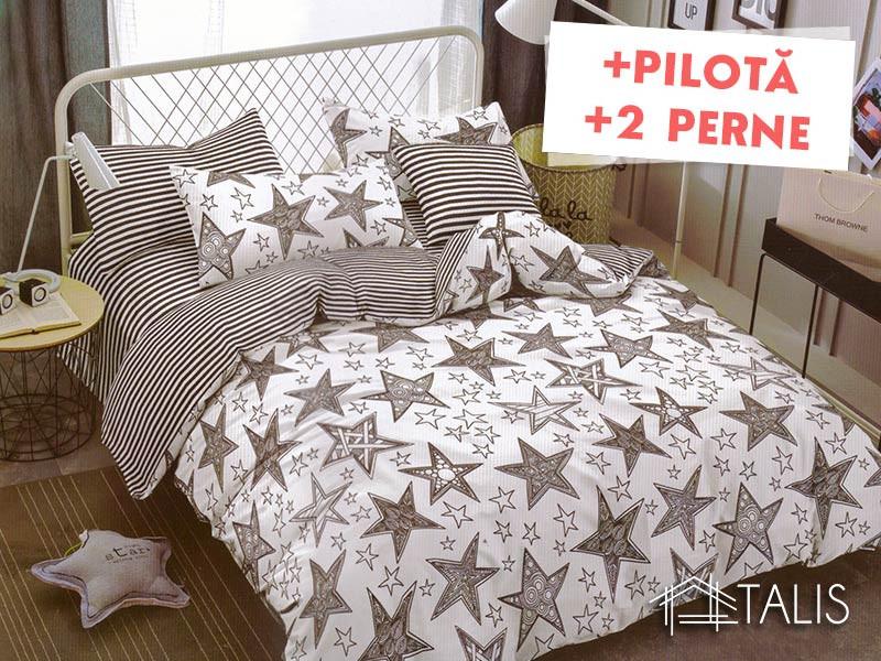 Pachet Lenjerie + Pilota + Perne Illusion Star (Bumbac Satinat)