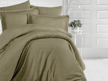 Lenjerie cu elastic 160x200 Evelyn Olive Green (Satin)