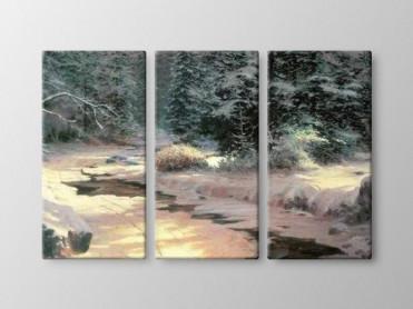 Tablou Canvas 3 Piese Zapada in Padure