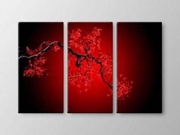 Tablou Canvas 3 Piese Rosu-Negru