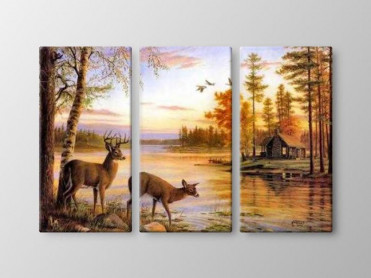 Tablou Canvas 3 Piese Caprioare