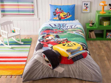 Lenjerie Copii Mickey Racer (Bumbac 100%)