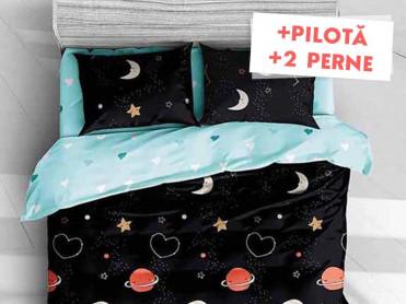 Pachet Lenjerie + Pilota + Perne Night Love (Bumbac Satinat)