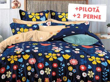 Pachet Lenjerie + Pilota + Perne Blue Field (Bumbac Satinat)