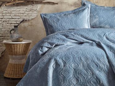 Cuvertura 3 Piese Soft Albastru, 240x260 cm