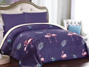 Patura Pufoasa Flamingo, cu blanita, 200x230 cm